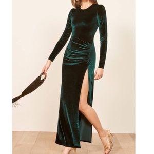 Reformation Ruby Green Velvet Maxi Dress M
